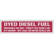 Dyed Diesel Fuel Decal