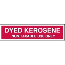 Dyed Kerosene Non Taxable Use Only Decal