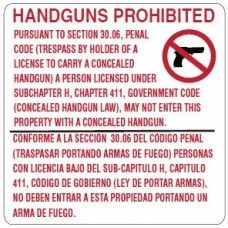 HANDGUNS PROHIBITED METAL SIGN M3006